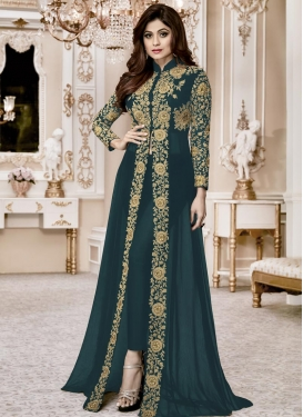 Shamita Shetty Embroidered Work Long Length Designer Suit