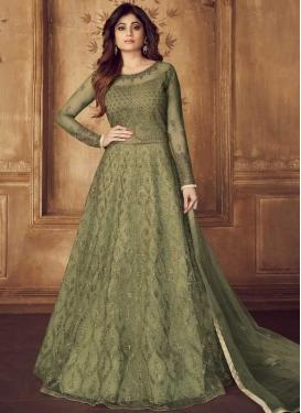 Shamita Shetty Embroidered Work Net Floor Length Anarkali Salwar Suit