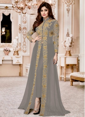 Shamita Shetty Embroidered Work Pant Style Classic Salwar Suit