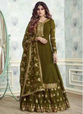 Shamita Shetty Embroidered Work Sharara Salwar Kameez