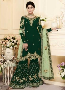 Shamita Shetty Embroidered Work Sharara Salwar Suit