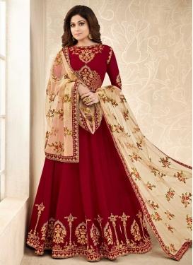 Shamita Shetty Embroidered Work Trendy Anarkali Salwar Suit