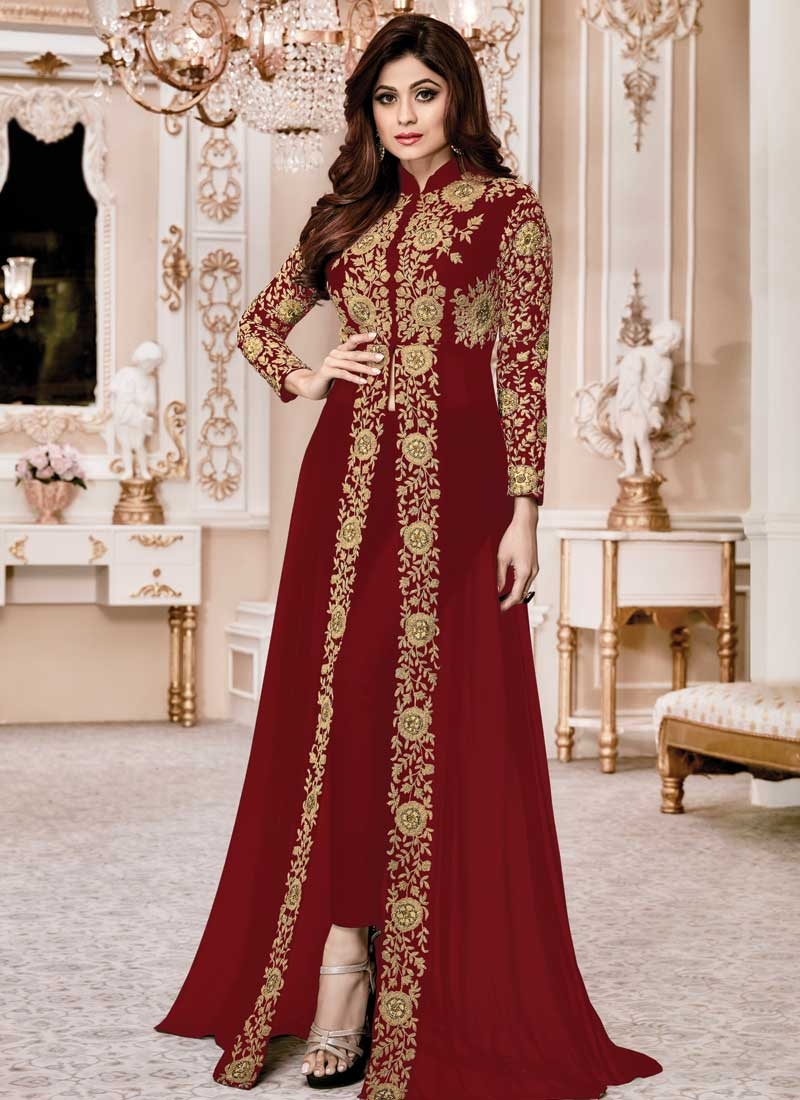 Shamita Shetty Faux Georgette Cord Work Pant Style Salwar Suit