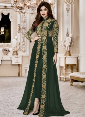 Shamita Shetty Faux Georgette Embroidered Work Long Length Designer Suit