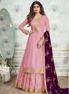 Shamita Shetty Faux Georgette Embroidered Work Sharara Salwar Suit