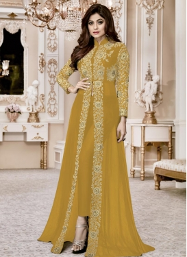 Shamita Shetty Faux Georgette Embroidered Work Trendy Designer Salwar Kameez