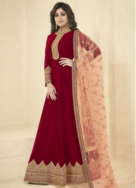Shamita Shetty Faux Georgette Embroidered Work Trendy Floor Length Salwar Suit