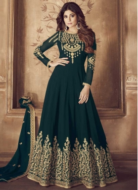 Shamita Shetty Faux Georgette Long Length Designer Anarkali Suit