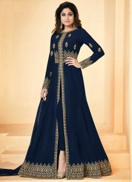 Shamita Shetty Faux Georgette Long Length Designer Suit For Ceremonial