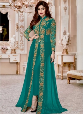 Shamita Shetty Faux Georgette Pant Style Straight Suit For Festival