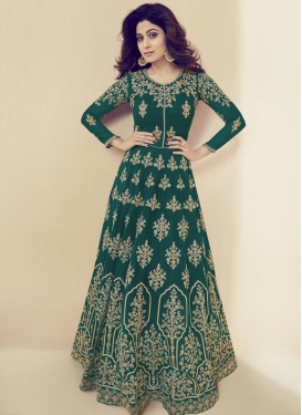Shamita Shetty Floor Length Anarkali Salwar Suit For Festival
