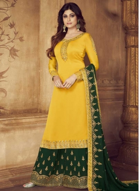 Shamita Shetty Green and Yellow Embroidered Work Palazzo Style Pakistani Salwar Suit
