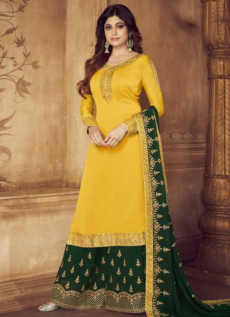 Shamita Shetty Green and Yellow Embroidered Work Palazzo Style Pakistani Salwar Suit