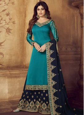 Shamita Shetty Light Blue and Navy Blue Palazzo Style Pakistani Salwar Kameez For Ceremonial