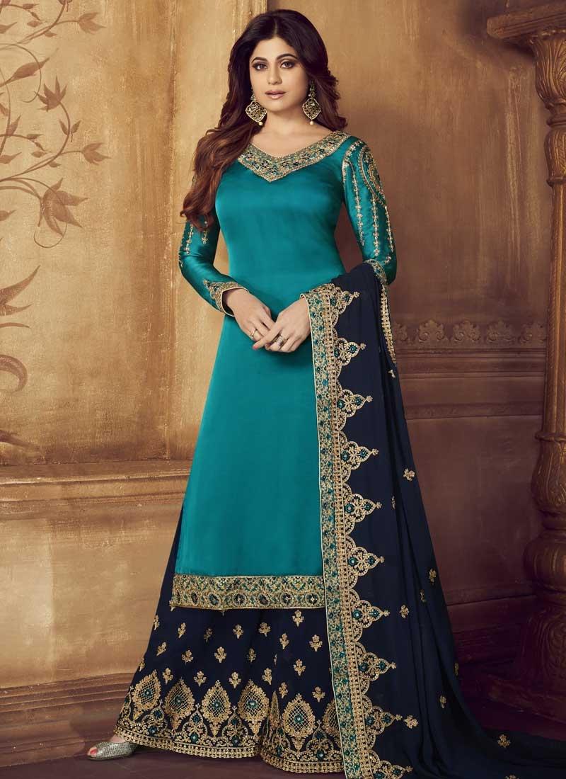 Shamita Shetty Light Blue and Navy Blue Palazzo Style Pakistani Salwar Kameez For Ceremonial