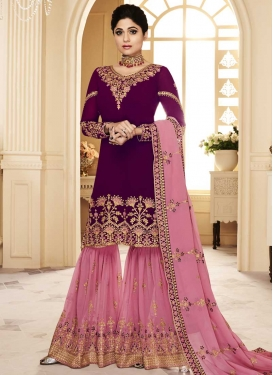 Shamita Shetty Pink and Purple Sharara Salwar Kameez For Festival