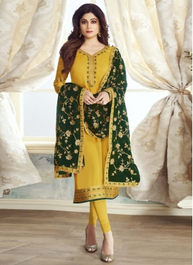 Shamita Shetty Satin Georgette Churidar Suit