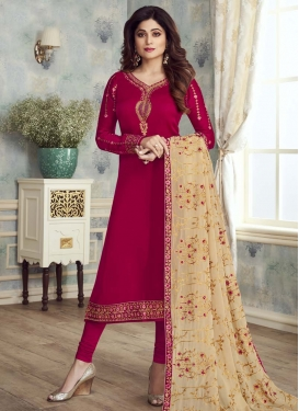 Shamita Shetty Satin Georgette Trendy Churidar Salwar Kameez For Ceremonial