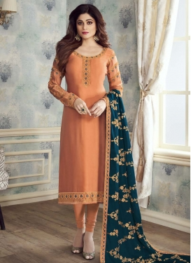 Shamita Shetty Satin Georgette Trendy Churidar Salwar Suit