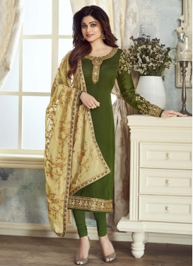 Shamita Shetty Satin Georgette Trendy Churidar Suit