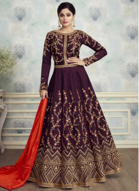 Shamita Shetty Silk Long Length Anarkali Salwar Suit