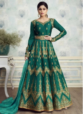 Shamita Shetty Silk Long Length Anarkali Suit For Festival