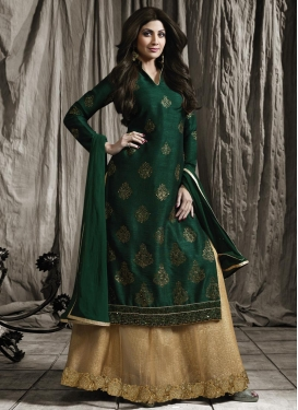 Shilpa Shetty Beige and Bottle Green Kameez Style Lehenga Choli For Ceremonial