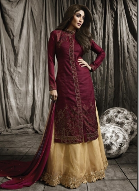 Shilpa Shetty Beige and Maroon Lace Work Designer Kameez Style Lehenga Choli