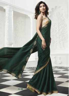Shilpa Shetty Bottle Green and Cream Art Silk Trendy Classic Saree