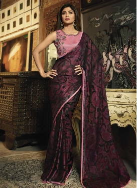 Shilpa Shetty Coffee Brown and Rose Pink Embroidered Work Contemporary Style Saree