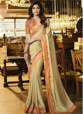Shilpa Shetty Cream and Salmon Designer Traditional Saree For Ceremonial