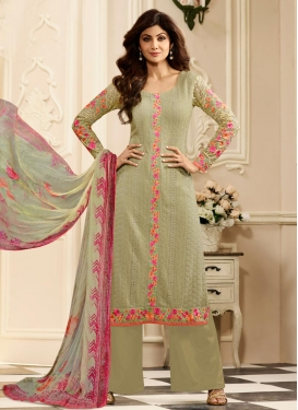 Shilpa Shetty Embroidered Work Designer Palazzo Salwar Kameez