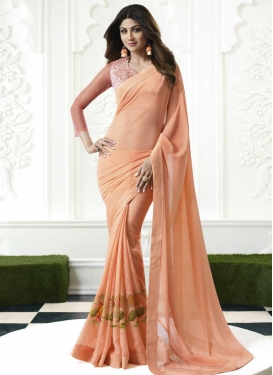 Shilpa Shetty Faux Chiffon Designer Contemporary Saree