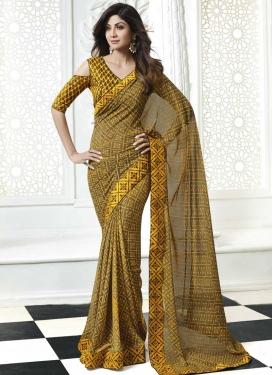 Shilpa Shetty Faux Georgette Digital Print Work Designer Traditional Saree