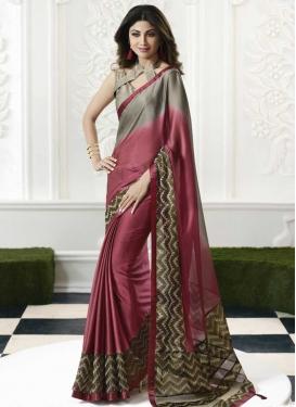 Shilpa Shetty Lace Work Contemporary Style Saree