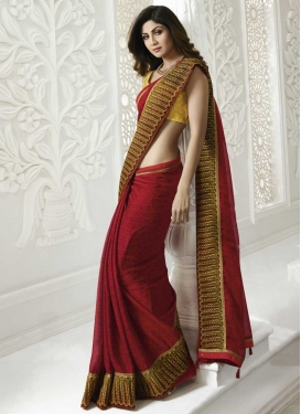 Shilpa Shetty Mustard and Red Digital Print Work Contemporary Saree