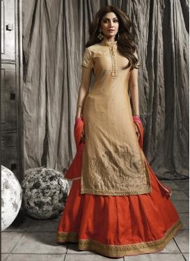 Shilpa Shetty Raw Silk Designer Kameez Style Lehenga