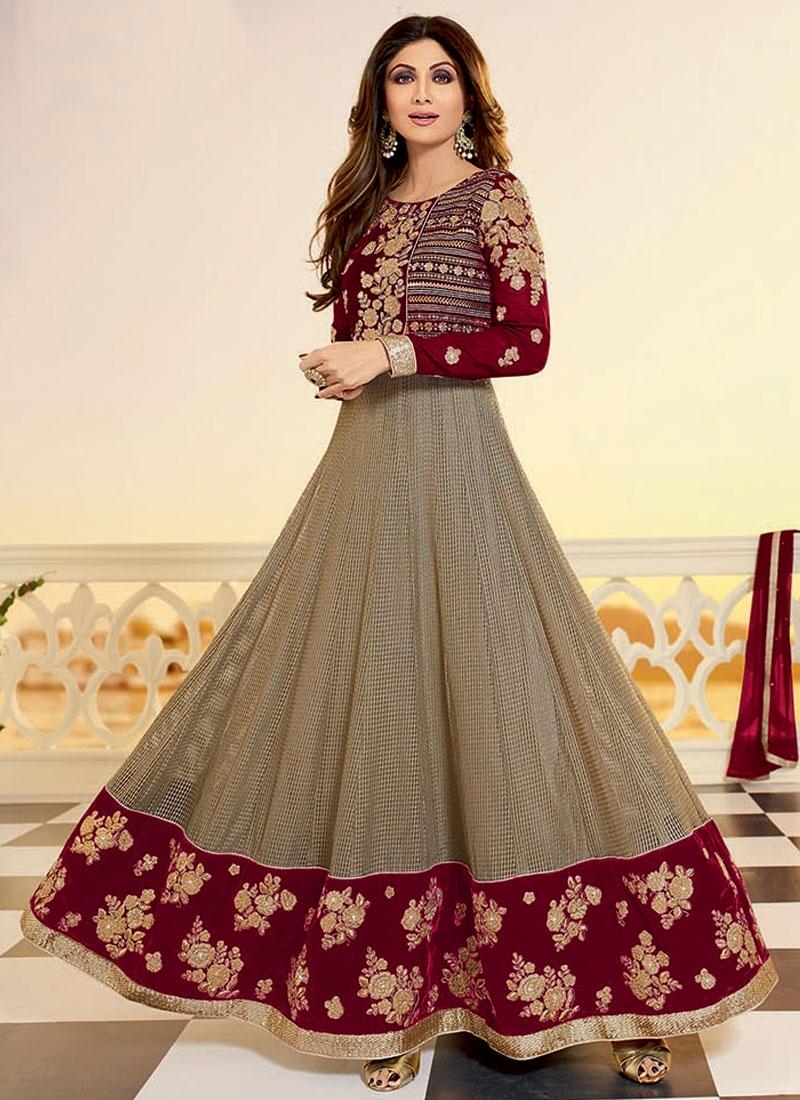 Shilpa Shetty Shimmer Georgette Ankle Length Designer Suit