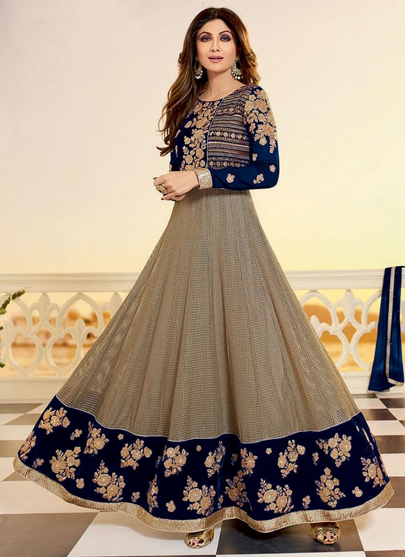 Shilpa Shetty Velvet Ankle Length Designer Salwar Kameez