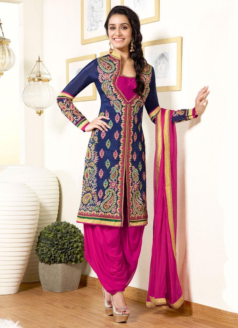 Shraddha Kapoor Resham Work Patiala Style Punjabi Salwar Kameez