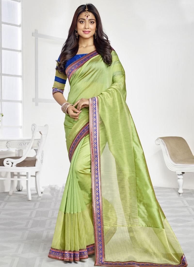 Shriya Saran Organza Lace Work Party Wear Saree