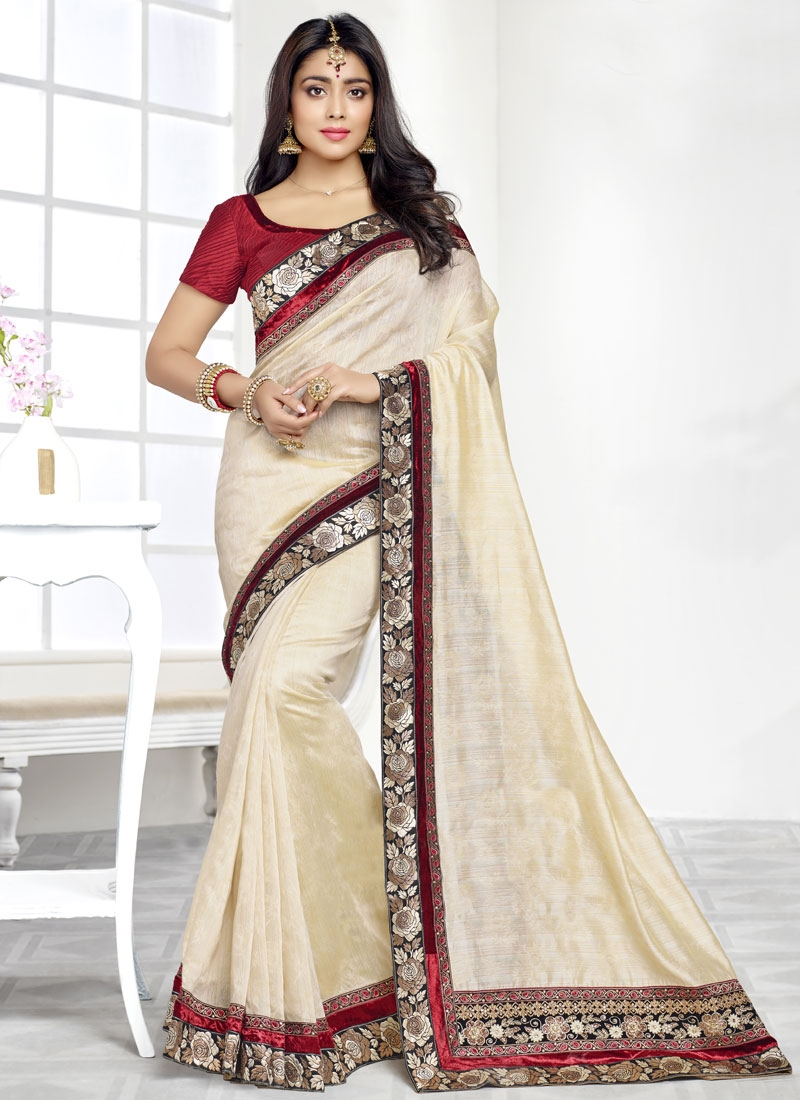 Shriya Saran Patch Border Work Party Wear Saree