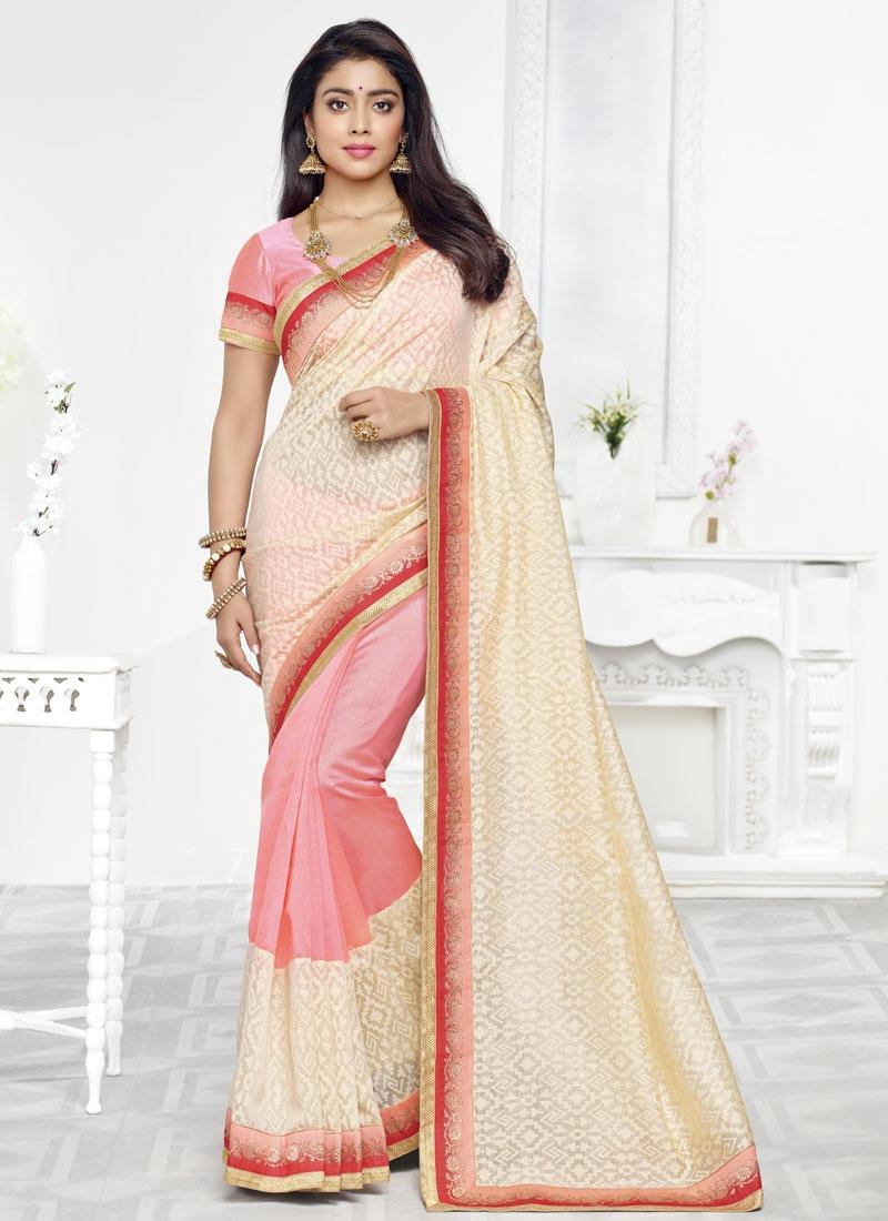 Shriya Saran Resham Work Half N Half Party Wear Saree