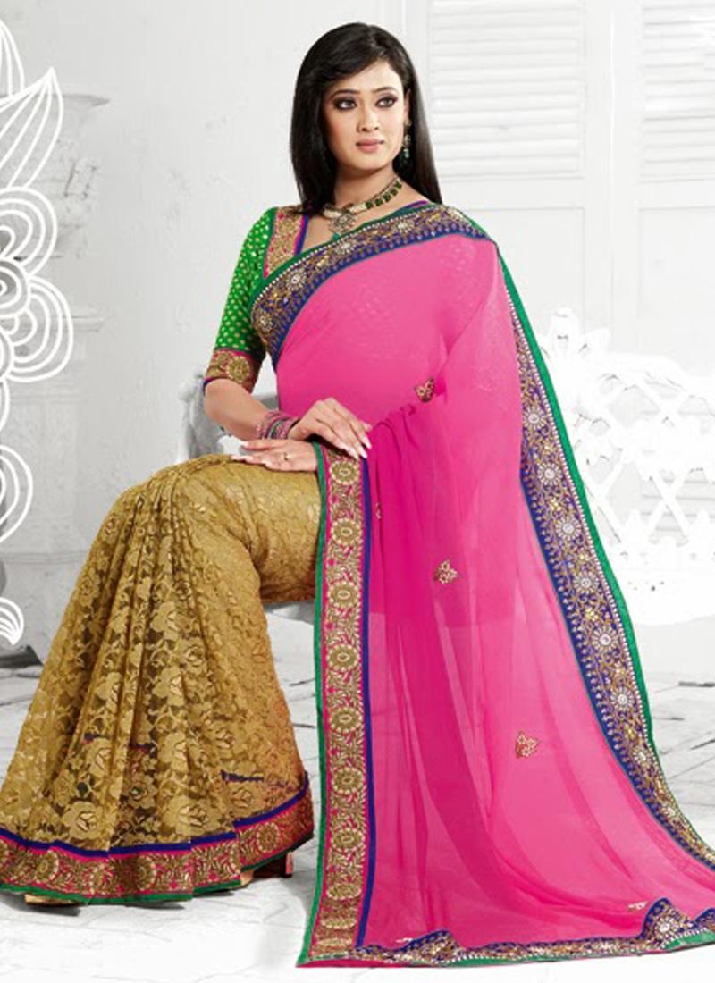 Shweta Tiwari Beige And Rose Pink Half N Half Saree