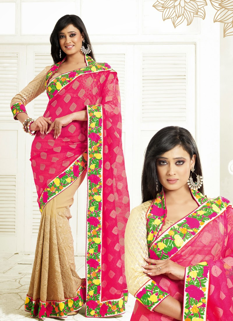 Shweta Tiwari Floral Work Half N Half Bollywood Saree