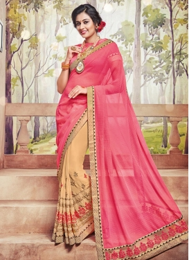Sightly Beige and Hot Pink Embroidered Work Faux Chiffon Half N Half Trendy Saree For Festival