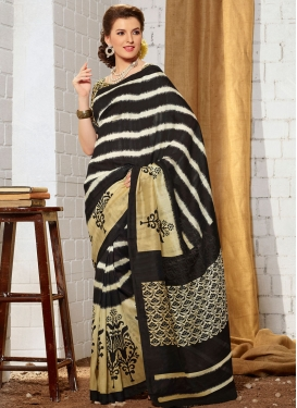 Sightly Black And Cream Color Casual Saree