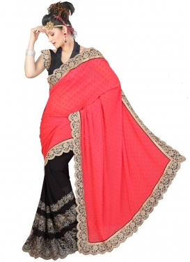 Sightly Black Color Faux Georgette Half N Half Designer Saree