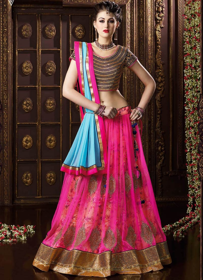 Sightly Booti Work Net Designer Lehenga Choli