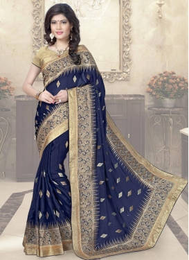 Sightly Chiffon Satin Embroidered Work Trendy Saree